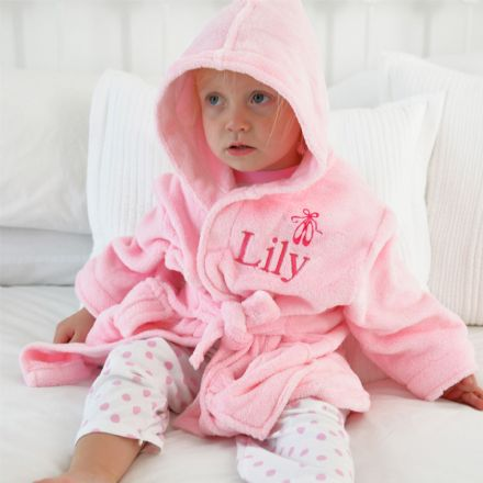 Personalised Child's Ballet Shoes Dressing Gown In Pink